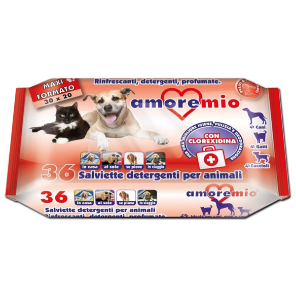 Amoremio Αντισηπτικά Μαντιλάκια σκύλου-γάτας για σώμα και πατούσες Clorexidina 36τμχ 20x30cm
