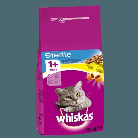 Whiskas Sterile Πλήρης Ξηρή Τροφή για Στειρωμένη Γάτα με Κοτόπουλο 14kg