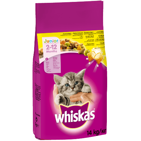 Whiskas Junior Ξηρή τροφή για γατάκια με κοτόπουλο & γεμιστές κροκέτες με γάλα